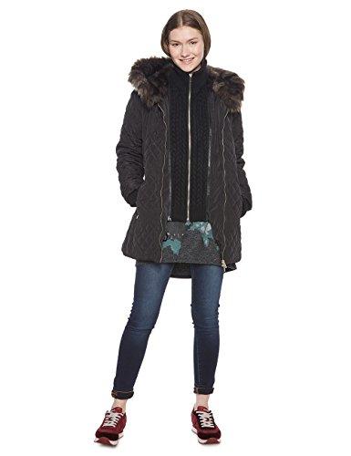 Desigual Damen Mantel PADDED_MACA, Schwarz (Negro 2000), 36 (Herstellergröße: 38)