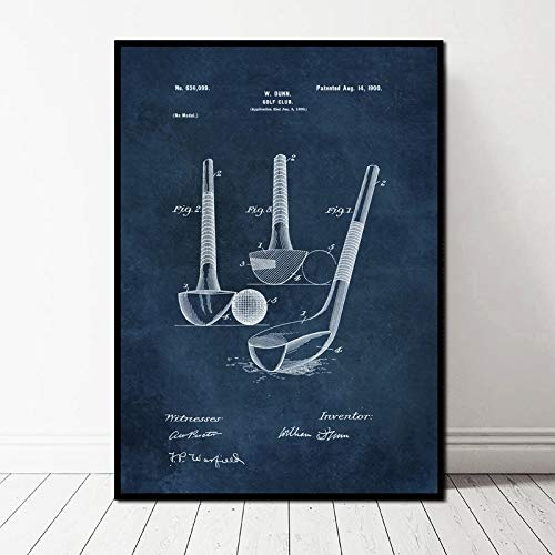 (Geen Frame) 60x90cm Golfclub en Bal Patent Blauwdruk Art Retro Vintage Retro Art Canvas Poster Muur Foto voor Woonkamer