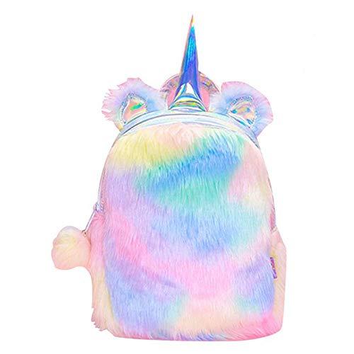 Cute Plush Unicorn Backpack,Fluffy Mini Unicorn Backpack Bags for Girls Female Travel Plush Soft Rainbow Schoolbag (1 pcs)