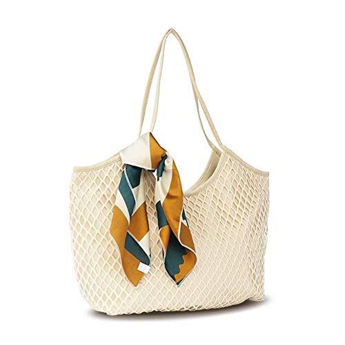 Thumby dames handtassen schoudertassen canvas mesh strandtassen mode canvas mesh tassen vrouwen handtassen schoudertassen 34 * 38 * 15 cm a