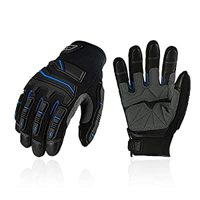 Vgo 3Pairs Full Grain Cowhide Leather Heavy Duty Mechanic Work Gloves, Touchscreen Compatible (Size XL, Blue, CA9730HL)