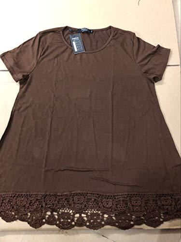 Sensiabl Frauen Kurzarm T-Shirt Rundhals Bluse mit Spitze Stitching Decor Tops Kaffee...