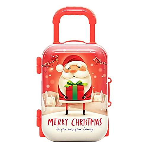Lary Zaino per Bambole, Simulazione Mini Valigia con rotelle Scatole per Caramelle in plastica Regalo di Natale per Ragazze Accessori per Bambole Collezione di Monete per gomme Decorazioni Natalizie
