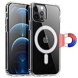 Wonantorna Compatibile con iPhone 12/12 Pro Cover,Magnetico Custodia Compatibile con MagSafe [Anti-Giallo][200% Protezione Anticaduta]TPU+PC Ibrido Custodia Compatibile con iPhone 12 6.1' -Trasparente