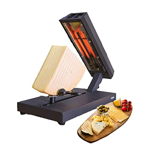 Raclette Ofen 8 Personen für ein ganzes Stück Käse Raclettegrill Standgerät Schmelzgerät (Käseschmelzer, 400 Watt, Höhe und Winkel einstellbar, Thermostat)