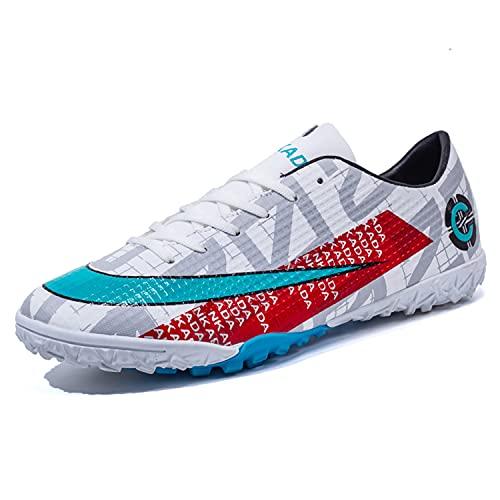 VTASQ Zapatillas de Fútbol Hombre Profesionales Antideslizante para Entrenar al Aire Libre Atletismo Zapatos de fútbol Zapatos de Entrenamiento Zapatos de Deporte Blanco 44EU