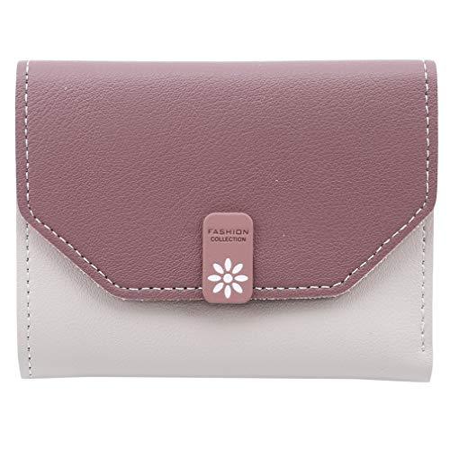 LnLyin Damen Trifold Münzbörse Portemonnaie kurz Geldbörse Minibörse Kreditkarten Tasche Compact Slim Brieftasche, Haricot Rouge, 11,5 * 9 * 2cm