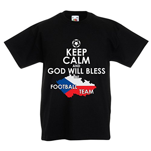N4495K La Camiseta de los niños God Will Bless Czech National Team (14-15 Years Negro Multicolor)
