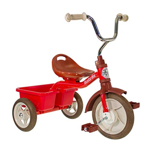 Italtrike - Tricycle Transporter - 10 Pouces - avec Benne - Selle avec Dossier, Réglable 3 Positions - Dès 2 Ans - Look Vintage - Couleur Rouge
