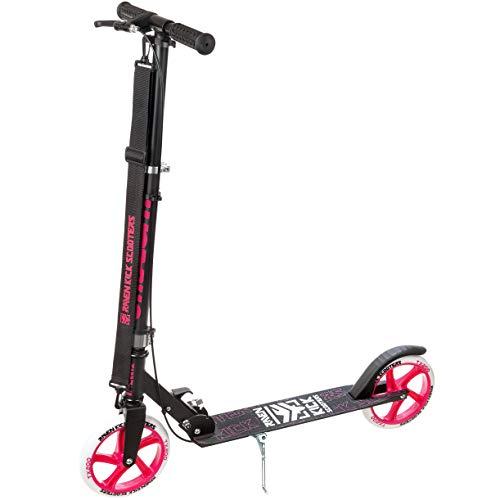 RAVEN Scooter, Roller, Tretroller, Kinderroller, Cityroller Straight 200mm mit Handbremse (Black/Pink)