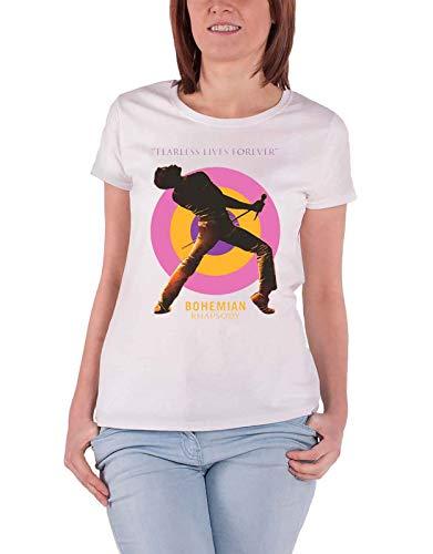 Queen Bohemian Rhapsody T Shirt Fearless Movie Officiel Femme Skinny Fit Blanc Size S