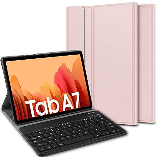 ELTD Tastatur Hülle für Samsung Galaxy Tab A7 (Deutsches QWERTZ),Ständer PU Schutzhülle Hülle mit magnetisch Abnehmbarer Kabellose Tastatur für Samsung Galaxy Tab A7 2020 10.4 Zoll (Roségold)