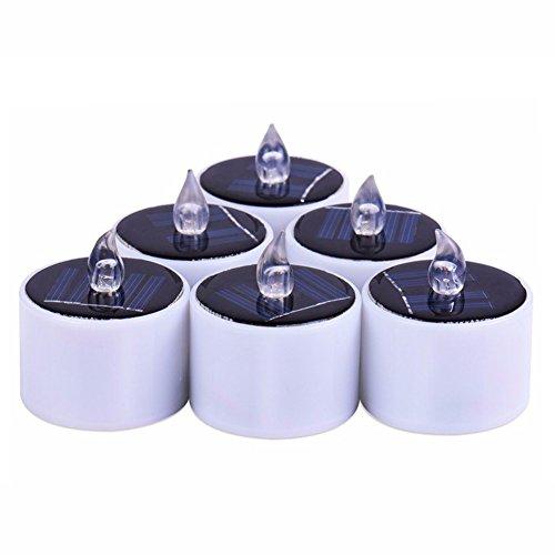 Wankd LED Kerzen, 6 Stück Solar Kerzen Außen Interior Solar Teelichter Wasserdicht Flammenlose Kerzen Solarleuchte Teelichter Nachtlicht für Partei Hochzeit Festival Dekoration (Warmweiß)