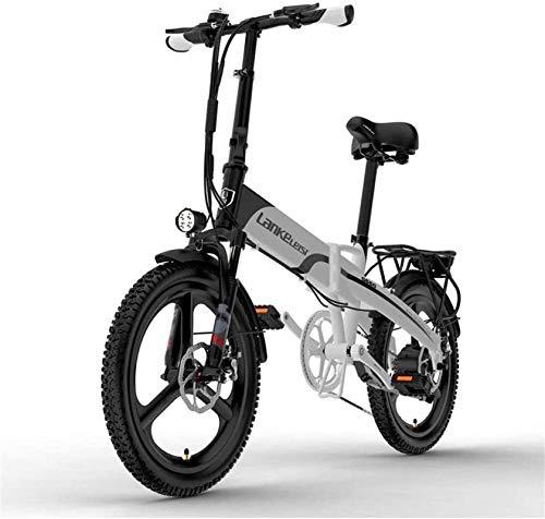 Fangfang Bicicletas Eléctricas, Motor eléctrico de 20 Pulgadas Bici 400W Motor 48V 10.4AH Batería extraíble con Pantalla LCD y Portador Trasero 5 Pedal de Nivel ASIST Asistencia,Bicicleta
