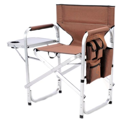 Ming's Mark SL-1204-BROWN Stylish Camping Folding Director Chair - Brown