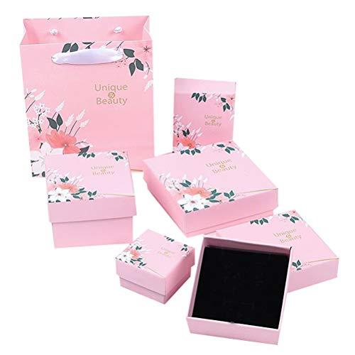 Cabilock 6pcs en 1 Set Pink Valentines Day Jewelry Case Novedad Diseño de Flores Caja de Regalos Collar Anillo Caja de Embalaje Pendiente Contenedor sin joyería
