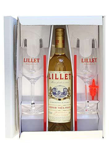 Lillet Blanc 0,75l. Geschenkset mit 2 Original Lillet Gläser.