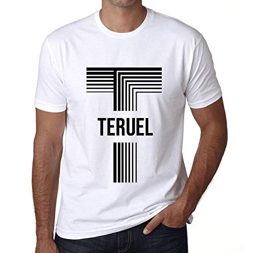 Hombre Camiseta Vintage T-Shirt Gráfico Letter T Countries and Cities TERUEL Blanco
