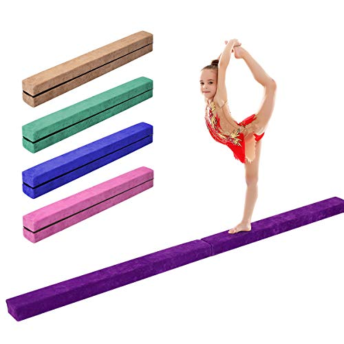 Giantex 7FT Folding Floor Balance Beam for Girls, Boys, Toddlers, Teens Sports Gymnastics Skill Performance Training Easy Storage (Purple)