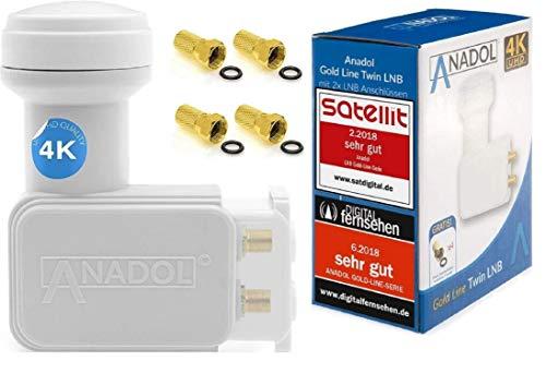 Anadol Gold Line Digitaler Twin-LNB [Test 2X SEHR GUT] - 0.1dB Rauschmaß - Wetterschutz LNB - Full HD-TV 3D 4K Ultra-HD - Digitaler 2fach-LNB für Satellit - LNB inkl. 4 vergoldete F-Stecker
