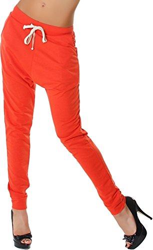 Very & Lucy Damen Jogginghose Stoff Sweatpants einfarbig Kordel Harem Baggy tiefer Schritt, Apricot 36 38 SM