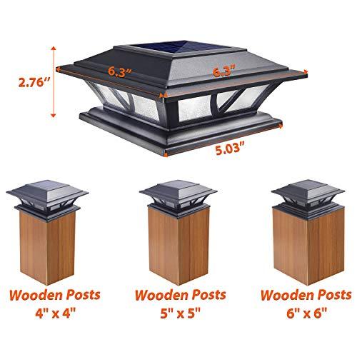 Siedinlar Solar Post Lights Outdoor 2 Modes LED Deck Fence Cap Light for 4x4 5x5 6x6 Posts Patio Garden Decoration Warm White/Cool White Lighting Black (2 Pack)