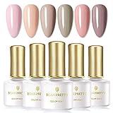 BORN PRETTY esmaltes semipermanentes Gel UV Set de esmaltes de uñas, 6 botellas de 6 ml, serie desnuda Color puro, empapa del esmalte de uñas de arte de uñas