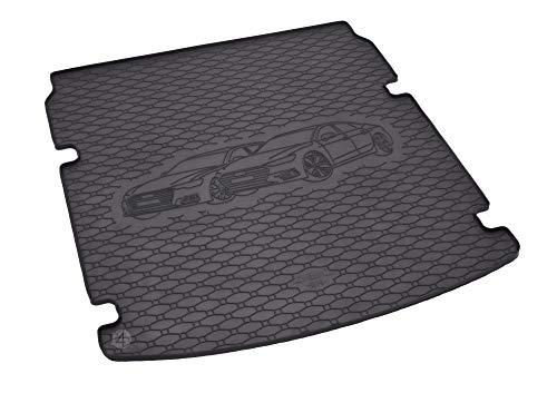 Passgenau Kofferraumwanne geeignet für Audi A6 Avant ab 2018 ideal angepasst schwarz Kofferraummatte + Gurtschoner