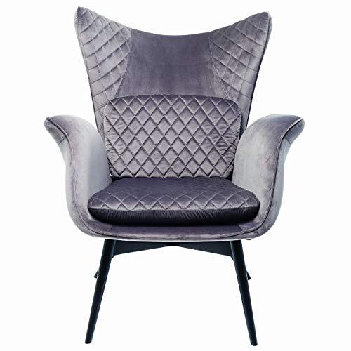 Kare Design Sessel Tudor Velvet Silbergrau, grauer Relaxsessel in Samtoptik, zeitlosem grau und besonderen Armlehnen, Gestell in schwarz, weitere Ausführungen erhältlich  (H/B/T) 100 78 80