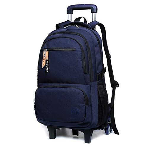 School Bags for Boys Childrens Luggage on Wheels Rolling (2 Wheels 6 Wheels)-blue-6wheel
