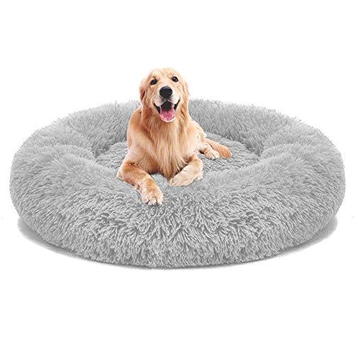 KongEU Deluxe Weich Hundebett Sofa Waschbar Rundes Donut Plüsch Hundekissen für große und extra große Hunde Katzen,Warmes Hundekörbchen,Wasserfeste Unterseite-120cm-Hellgrau