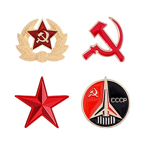 ROTOOY Retro UDSSR Symbol Emaille Pin Roter Stern Sichel Hammer Kalter Krieg Sowjetische Brosche Geschenksymbol Abzeichen Anstecknadel Für Mantel Cap-Set
