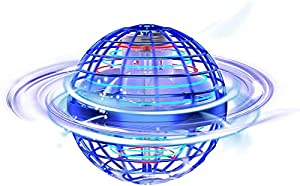 Tomzon Flying Ball Toys, 360° Rotating Hand Controlled RGB Light Boomerang flying Spinner, Magic Globe Shape Mini Drone Flying UFO Space for Kids Adults Outdoor Indoor (Blue)