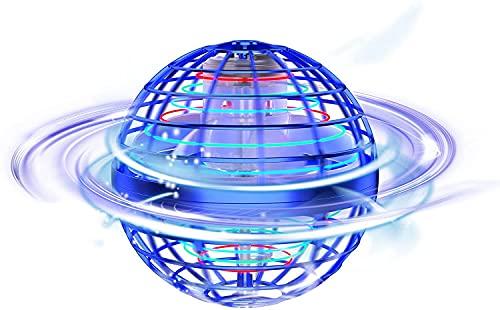 Tomzon Mini Drohne Fliegender Ball Spielzeug, Handgesteuerter Flugball Hoverball mit LED Licht, 360° Drehung, 15min Flugzeit USB Aufladung, Kreiselflug und Schweben für Kinder Erwachsene -Blau