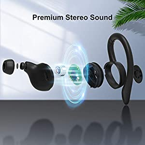 COMISO Wireless Earbuds, True Wireless in Ear Bluetooth 5.0 with Microphone, Deep Bass, IPX7 Waterproof Loud Voice Sport Earphones with Charging Case for Outdoor Running Gym Workout (Black)