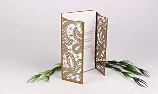Laser Cut Invitation Gate-Fold Card | Wedding and Engagement Invitations, Baby Shower Invites, Unique Invite -Pack of 6 - Shaadhi Henna (Maroon)