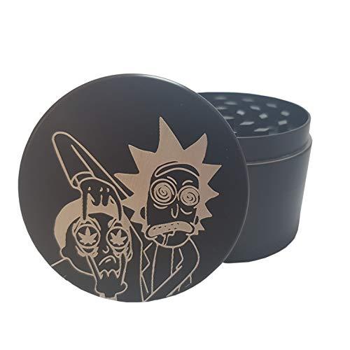 Jhseller Grinder Rick and Morty Crusher 4 Teilig + Pollen Scraper - Mühle für getrocknete Gewürze, Tabak und Kräuter - Hochwertiger Grinder Schwarz aus Aluminium mit Rick und Morty Gravur
