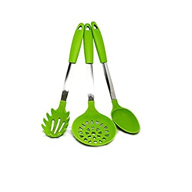 Quicklids QL-US-B-GR Silicone and Stainless Steel Kitchen Spoon (Set of 3), Serving/Draining/Pasta Spoon, Green