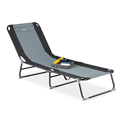 Relaxdays Gartenliege, 5-stufig verstellbar, klappbare Dreibeinliege für Garten oder Camping, bis 113 kg, schwarz-grau, Stahl