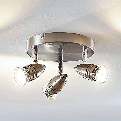 Lampenwelt LED Deckenlampe 'Benina' (Modern) in Alu aus Metall u.a. für Wohnzimmer & Esszimmer (3 flammig, GU10, A+, inkl. Leuchtmittel) - Deckenleuchte, Wandleuchte, Strahler, Spot, Lampe