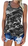Zcavy Stretchy Yoga Shirts Comfortable Workout Clothing Muscle Shirts Camouflage Sport Fitness Apparel Flowy Gym Running Camo Print Tank Tops for Women Grey L