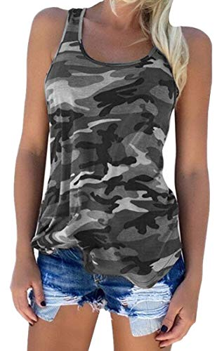 Zcavy Lindo Camo Tank Fluido Camisas Deportivas Running Muscle Camisas Entrenamiento Gimnasio Ropa Racerback Camo Tank Tops para Mujeres