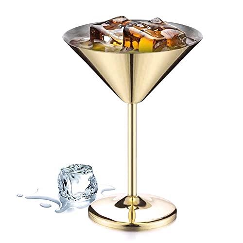 WANGIRL Copas de Cóctel Vasos de Martini de Acero Inoxidable Irrompibles Margarita Reutilizables para Copas de Vino para Bar Restaurante Fiesta Viaje 240ML (Color : Gold)