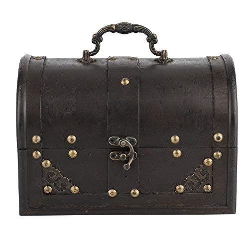 Caja de almacenamiento vintage de madera artesanal negra, caja decorativa hecha a...