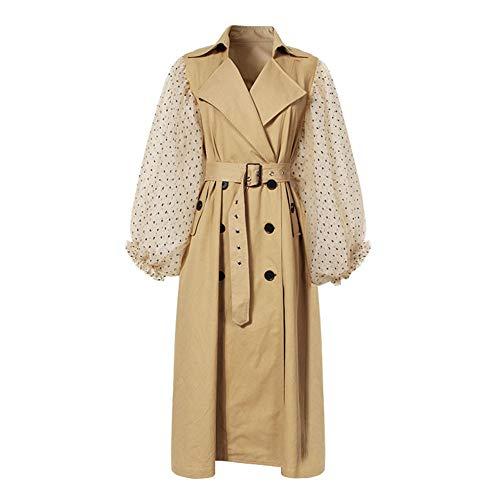 Frauen Dame Spitze Laterne Ärmel Trenchcoat Einreiher Mit Gürtel Famale Plus Langen Mantel Herbst Und Winter Casual Outwear,Beige,M