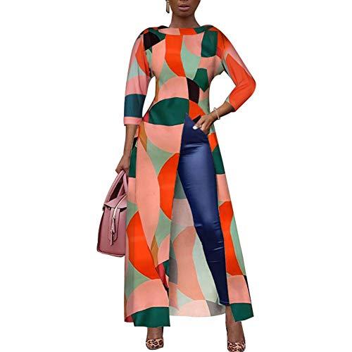 Women Short Sleeve Color Block Printed High Low Front Split Long Shirt Maxi Dress