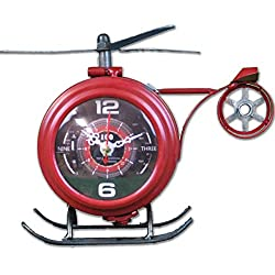 Huffy's Airport Windsocks Red Helicopter Table Clock