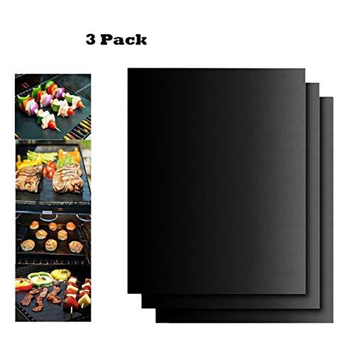 BBQ grill mat, Juego de 3 Non de Stick bbq esteras de barbacoa Reutilizable para Placas DE 40 x 33 cm Fda Libre de, Fácil de Limpiar