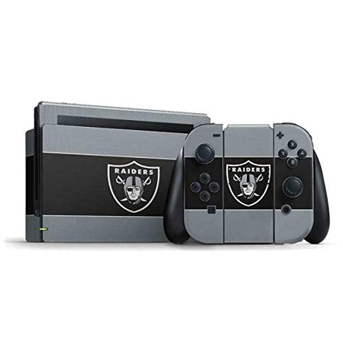 Skinit Decal Gaming Skin Compatible with Nintendo Switch Bundle - Officially Licensed NFL Las Vegas Raiders Zone Block Design