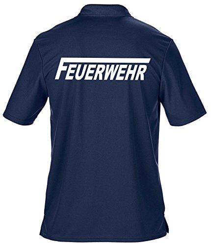 feuer1 Funktions-Poloshirt Navy, Feuerwehr mit langem F weiße Schrift